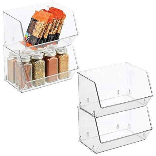 mDesign Plastic Open Front Food Storage Bin for Kitchen Cabinet, Pantry, Shelf, Fridge/Freezer – Organizer for Fruit…