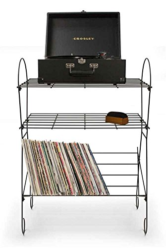 Crosley ST2001A-BK - Wirecord Mueble para Tocadiscos y Estante, Color Negro