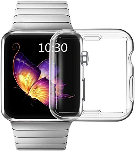 Smiling Case Compatible with Apple Watch Series 3/Series 2 Built in Screen Protector 38mm,Overall Protective Case TPU Clear Ultra-Thin Cover(2 pack)