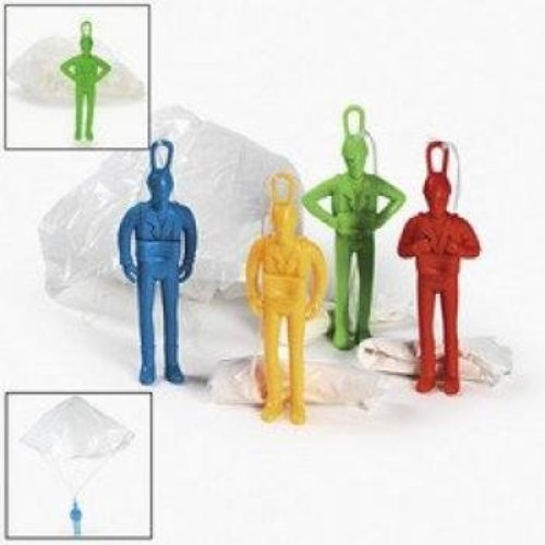 Fun Express 12 Plastic Jumbo Paratroopers Parachute Men by Fun Express