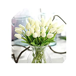 10pcs Tulip Artificial Flower Real Touch Bridal Christmas Wedding Bouquet Home Decor Decorating Flowers,D 86