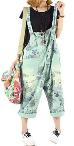Soojun Women's Loose Fit Pattern Cotton Bib Overalls Shorts Summer 3 Green