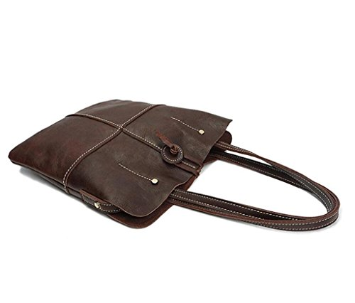 Shoulder work Handbag Coffee lady's travel vintage Bao Leather Handmade Shiny Color Bag Handbag Shopping 6qPS0pwx