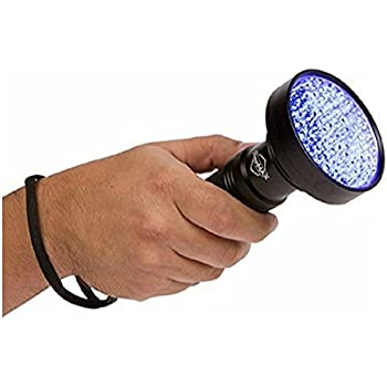 SUPER BRIGHT 100 LED Blacklight UV Flashlight - Emits a POWERFUL 30 Ft Ultraviolet Flood Light Beam- Finds Pet Urine Carpet Stains, Scorpions, Bed Bugs, Mold & Leak Detector & More- Commercial or Home