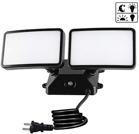 Yueximei Dusk to Dawn LED Security Light,18W Photo Sensor Flood Light,5000k Daylight,1600lm, IP55 Waterproof,Adjustable 2 Heads Wall Light for Garage, Porch, Yard, Black