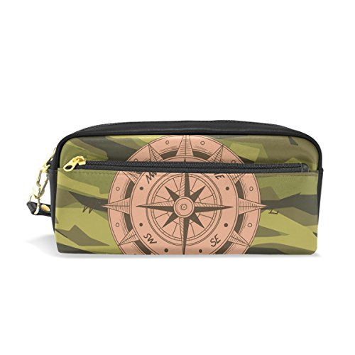 Compass Army Leather Student Pencil Case Cosmetic Bag Pen Makeup Pouch for Girl -