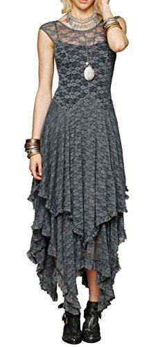 - R.Vivimos Womens Sleeveless Backless Asymmetrical Layered Lace Long Dress with Slip Two Pieces (Small, Grey)