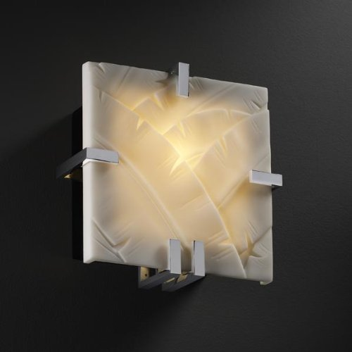 Justice Design PNA-5550-BMBO-DBRZ Clips Square Wall Sconce (ADA), Impression Option: Bamboo Shade Impression, Choose Finish: Dark Bronze Finish, Choose Lamping Option: Standard Lamping (5550 Clips Square)