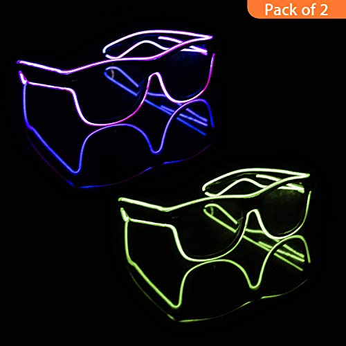 Blazing Fun El Wire Glow Glasses Led DJ Bright Light Safety Light Up Multicolor led Flashing Glasses with 4 Modes for Halloween Christmas Birthday Party(Purple+Yellow )