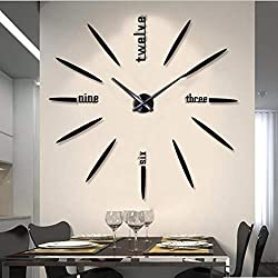 CreationStore Large 3D DIY Frameless Wall Clock, Modern Mirror Surface Stickers for Home Office Living Room Bedroom Decoration Gift (Black)
