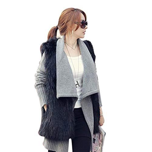 De Elégante V Confortable Gilet Manteau Fashion Fourrure Femme Unicolore cou Schwarz Slim Warm Manches Fit Art Décontracté Sans Mode Blouson Chic Hiver q7tq8XU