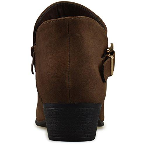 Low Heel Casual Toe Comfortable Walking Buckle Women's Premier Standard Premium Brown Closed Bootie Boot Strappy XnzCqz8wx0