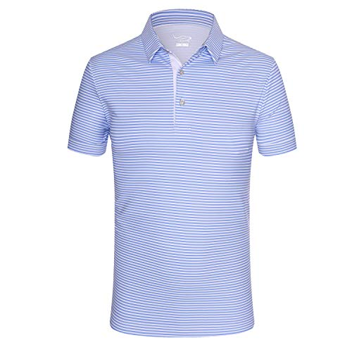 EAGEGOF Regular Fit Men's Shirt Stretch Tech Performance Golf Polo Shirt Short Sleeve L (Blue Horizontal Stripes)