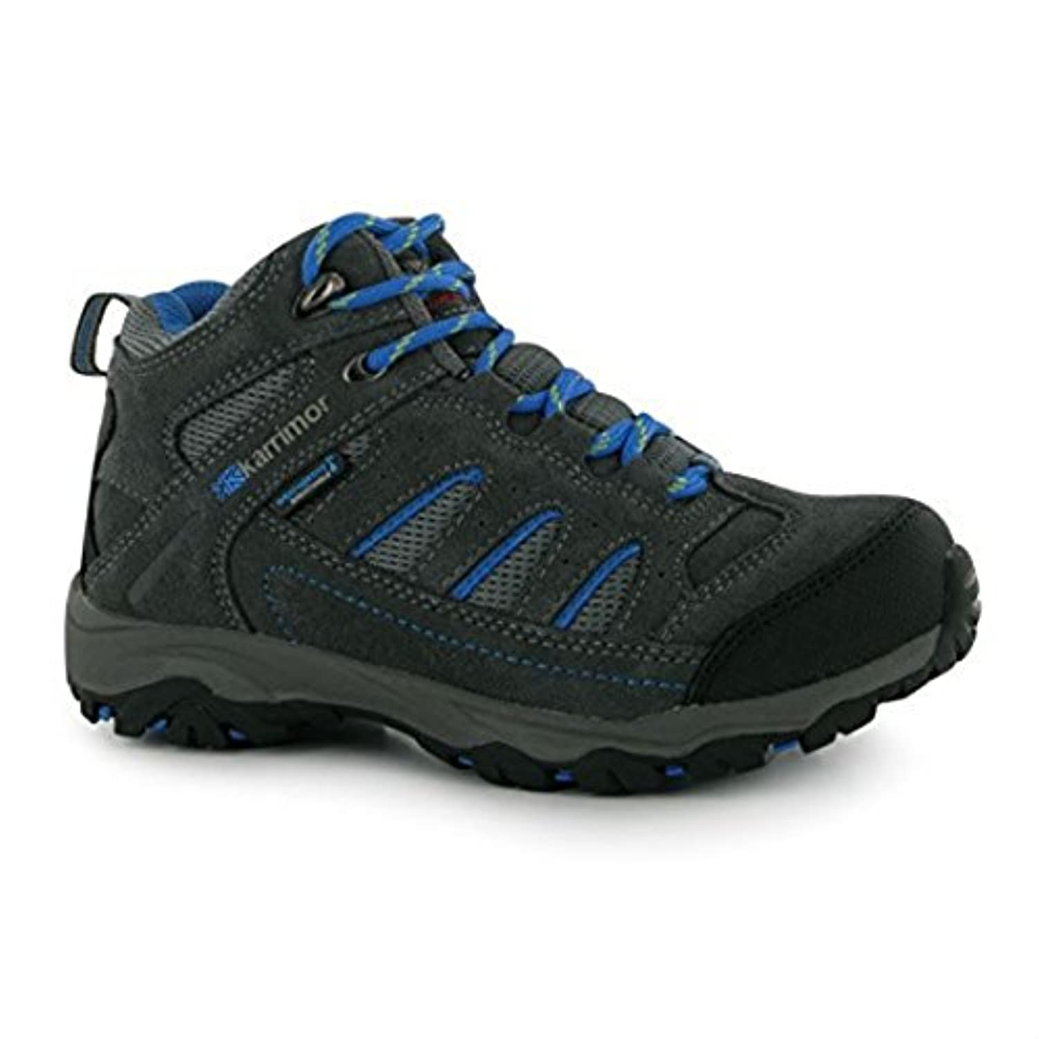 Karrimor Kids Mount Mid Childrens Walking Boots Boys Trekking Hiking Lace Up Charcoal/Blue UK 1