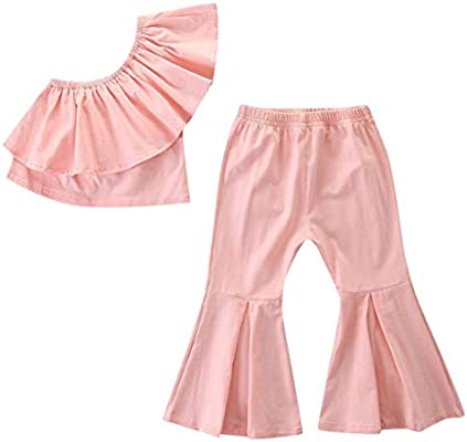 0eab0ef9377e Amazon.com  Toddler Ruffle Off Shoulder Set - Baby Girl Fashion Solid Color  Tops Shirts + Long Flare Pants - 2pc Casual Cute Clothes Sets (18-24  Months