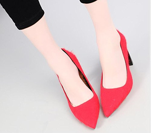 KHSKX-Hembra Invierno Nuevo Tacon 8 5 Cm Plus De Terciopelo Rojo De La Novia De La Boda Zapatos Grueso Con Poca Boca Todo El Partido Maomao Zapatos gules