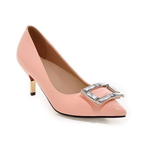 Balamasa Kvinnor Slip-on Kattunge-klackar Fast Lackläder Pumpar-shoes Rosa