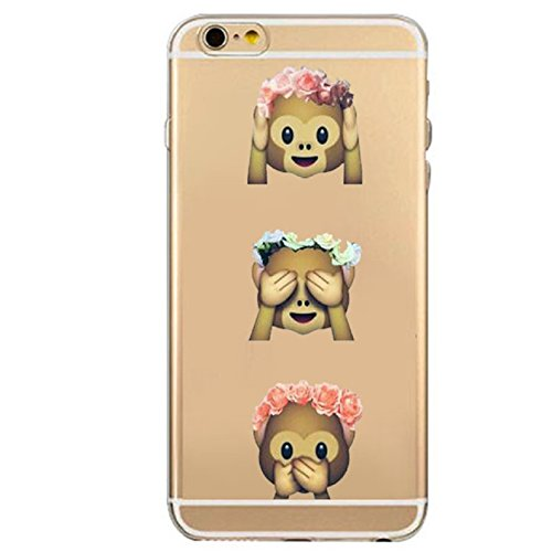 iPhone 7 Plus Case, Axiba Emoji Pattern Transparent TPU Carring Case Protect Cover for iPhone 7 Plus 5.5 Inch (H)