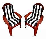 Set of 2 Outdoor Tufted Adirondack Chair Cushion - Black & White Stripe
