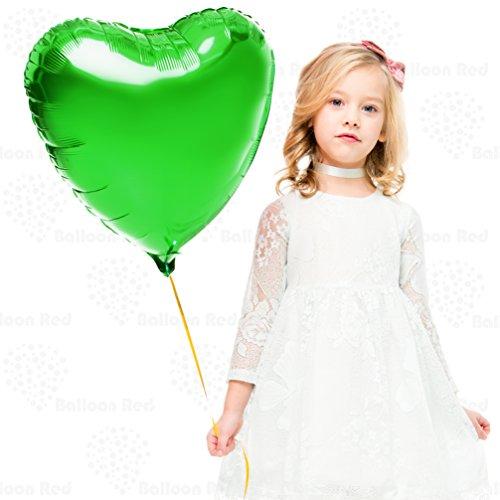 Heart Black Green (18 Inch Helium Foil Mylar Balloons (Premium Quality), Pack of 12, Heart - Green)