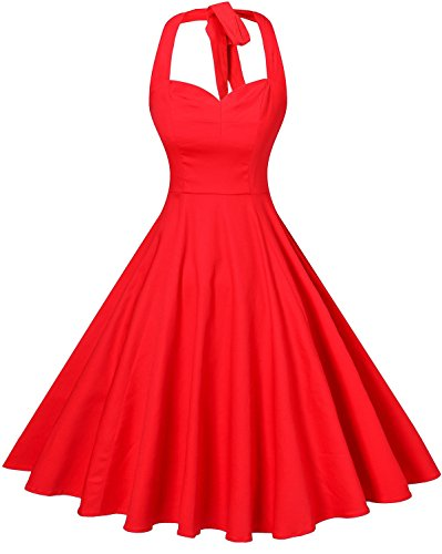 V Fashion Women 's Rockabilly 50s Vintage Polka Dots Halter Cocktail Swing Dress Pure Red Small