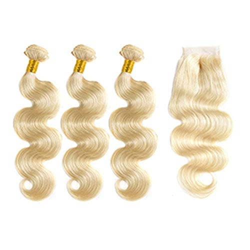 Bundles With Closure Body Wave 7A Virgin Hair Brazilian Hair Weave Bundles Human Hair Extension,12 12 12 & Closure10,#613,Middle Part]()