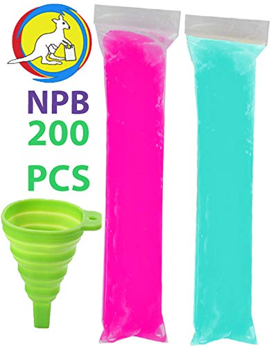 "200 pcs Ice Popsicle Bags bpa Free/1 Funnel Included/Freeze pops and ice Candy or Yogurt/Bolsa para Bolis/Ice Candy Mold Bags (2""x8"")"