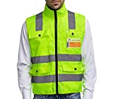 Professional Safety Vest / High Visibility Jacket / Fluorescent Yellow / Crease Resistant / Reflective Strips / Zip with 4 Large Pockets