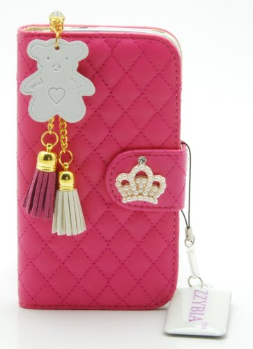 ZZYBIA S3 QCB Leatherette Case Card Holder Wallet With White Bear Fringed Dust Plug Charm and Screen Cleaning Pad for Samsung Galaxy S3 III I9300 I9305 (Shocking Pink)