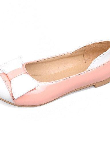 ZQ YYZ Zapatos de mujer - Tac¨®n Plano - Punta Redonda - Planos - Exterior / Vestido / Casual - Cuero Patentado - Negro / Blanco , pink-us9.5-10 / eu41 / uk7.5-8 / cn42 , pink-us9.5-10 / eu41 / uk7.5- white-us8.5 / eu39 / uk6.5 / cn40