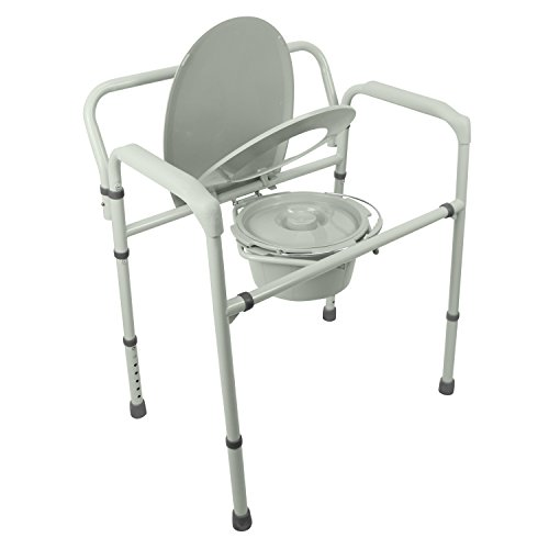 Bariatric Bedside Commode by Vive - 3 in 1 Toilet Chair - Extra Wide, Pre-Assembled & Folding - Heavy Duty Bathroom Seat Bucket Pail Fits Standard Liners