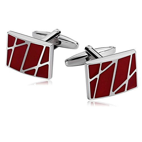 - Gnzoe Stainless Steel Men's Shirt Cuff Links Business Wedding Lines Section Red