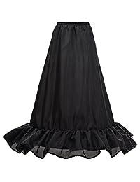 Remedios 3 Hoop A Line Wedding Petticoat Crinoline Slips Ruffled Underskirt, Black