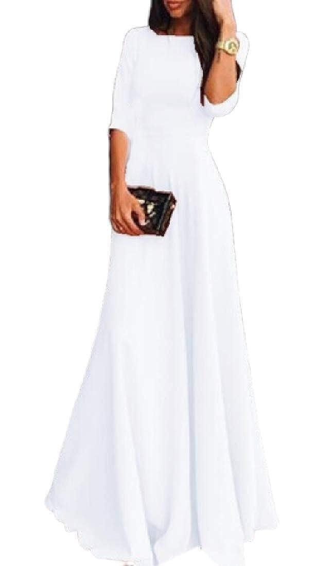 UUYUK Women Fashion Swing Round Neck 3//4 Sleeve Chiffon Cocktail Dress