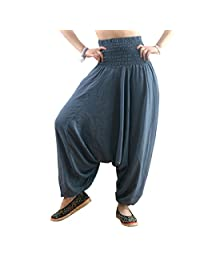 MissShorthair Women's Harem Pants Jumpsuit Loose Fit Hippie Bohemian Plus Size