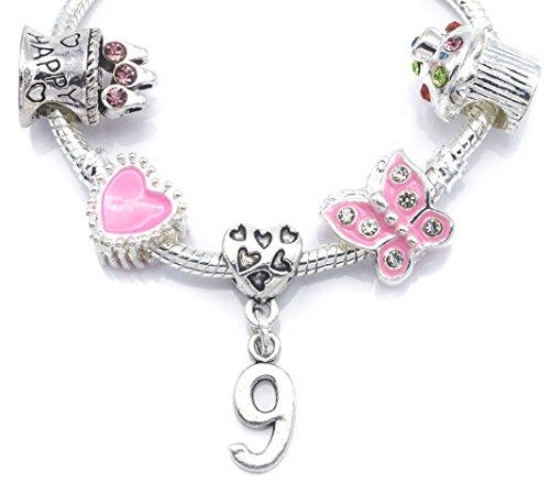9e anniversaire Plaqué argent Bracelet à breloques pour fille avec pochette cadeau en organza