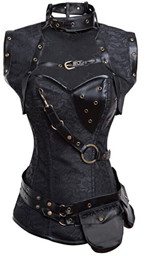 Charmian Women's Plus Size Retro Goth Spiral Steel Boned Brocade Steampunk Bustiers Corset with Jacket and Belt Black XXX-Large