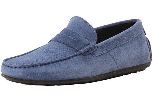 Boss Men Shoes (HUGO by Hugo Boss Men's Travelling Dandy Suede Moccasin Slip-On Loafer, Medium Blue, 13 N US)