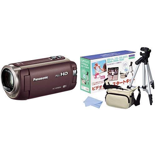 パナソニック HDビデオカメラ W580M 32GB サブカメラ搭載 高倍率90倍ズーム ブラウン HC-W580M-T + HAKUBA 三脚 + カメラバック + クリーニングクロス 4点セット   B07PW1HG66