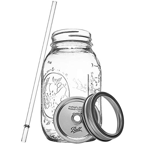 Ball RNWG-SIP-32OZ-2PK Guzzler Set a 32oz Mason Jar + Sippin' Lid + Acrylic Straw Reusable Novelty Cocktail Glasses Shabby Chic, 2 Pack Clear by Ball (Image #2)