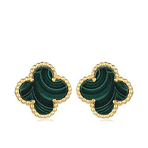 Women Fashion Gold/ Silver Plated Four Leaf Post Stud Earrings, (Malachite- Gold Plated) - Designer Gold Jewelry