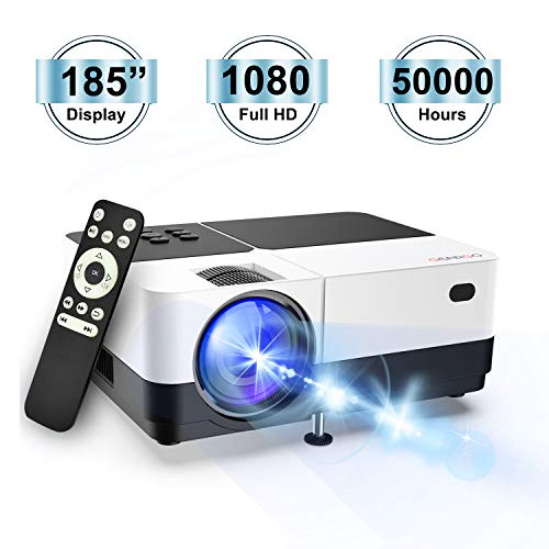 Video Projector, GEARGO H2 Portable Projector with 185'' Display and Full HD 1080P Support 50,000 Hrs LED Lamp Life Compatible with Fire TV Stick, HDMI, VGA, USB, TF, iPad,iPhone for Home Theater