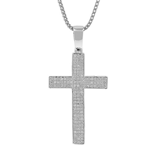 0.52ct Diamond Pave 3 Row Mens Hip Hop Cross Pendant Necklace in 925 Silver (I-J, I3) by Isha Luxe-Hip Hop Bling