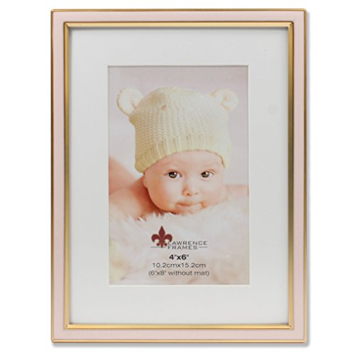 Lawrence Frames 4x6 Pink Enamel and Satin Gold Metal Frame-6x8 Without Mat Picture Frame