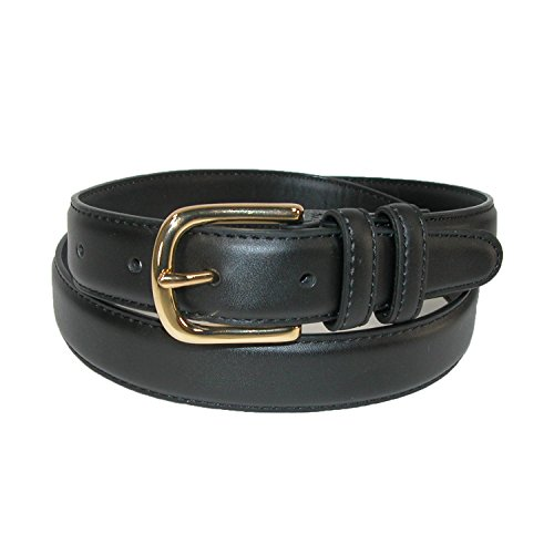 Aquarius Men's Big & Tall Leather Feather Edge Belt with Gold Buckle, 48, Black ()