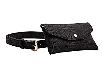 Casery Black Fashion Fanny Pack for Women - Convertible Crossbody and Belt Bag with Black Belt