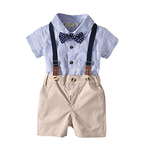 Shirt Pants Bib (Baby Boys Short Sleeve Gentleman Outfits Suits Infant Overalls Clothing Set Blue Shirt+Bib Pants+Tie (0-3 Years))