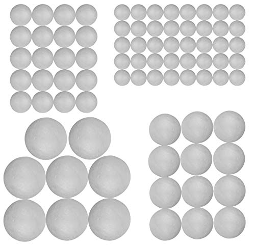 Craft Styrofoam Balls (80 Pieces) for DIY Crafting and Decoration by My Toy House | 4 Sizes, White Color ()