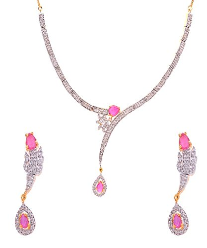 set pink gold in diamond heart white necklace