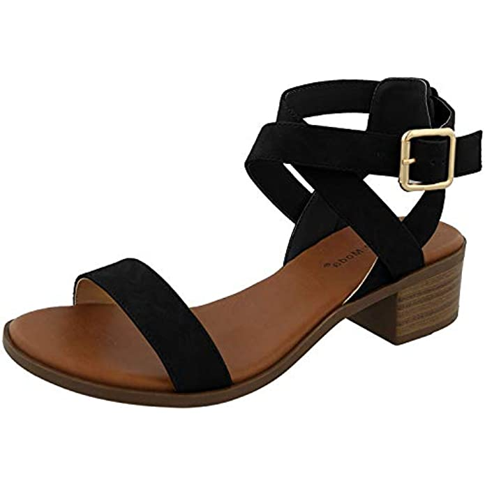 TOP Moda Women's Vision-75 Ankle Wrap Adjustable Buckle Stacked Chunky Heel Sandal